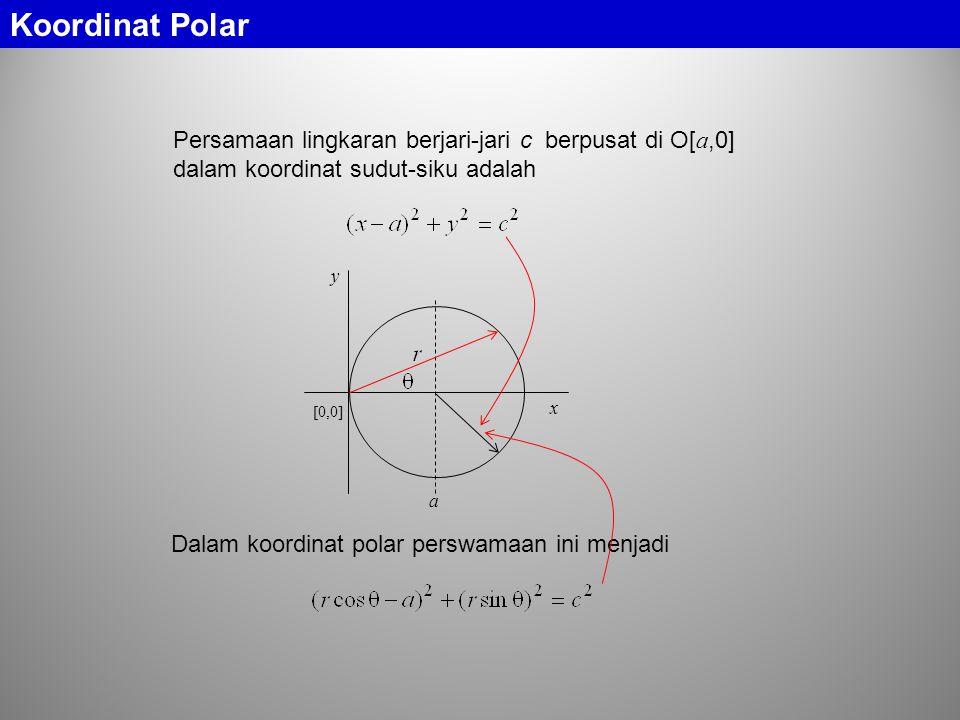 Koordinat Polar Persamaan lingkaran berjari-jari c berpusat di O[a,0] dalam koordinat sudut-siku adalah.